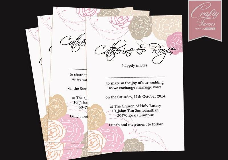 Vintage Roses Wedding Card for Church Ceremony Invitation