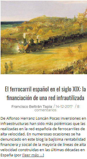 El Ferrocarril español en el s. XIX: la financiación de una red infrautilizada