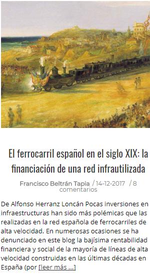 El Ferrocarril español en el s. XIX: la financiación de una red infrautilizada