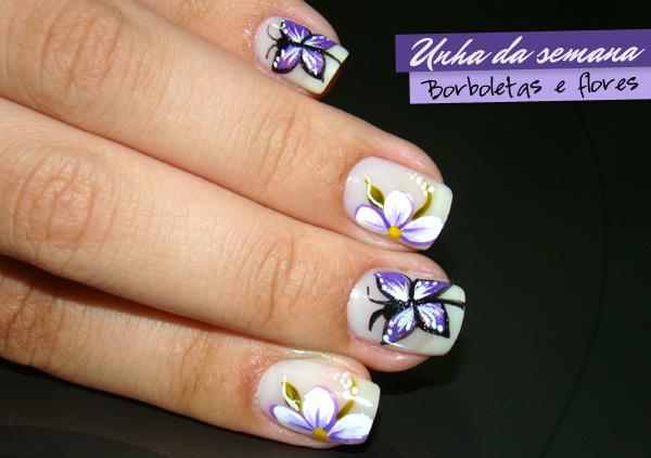 Fotos de Unhas Decoradas | Com Flores e Borboleta Passo a Passo: www.modabrasileiras.net/fotos-unhas-decoradas-2012