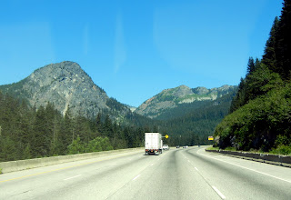 Crossing the Cascade Mountains by highway in Washington