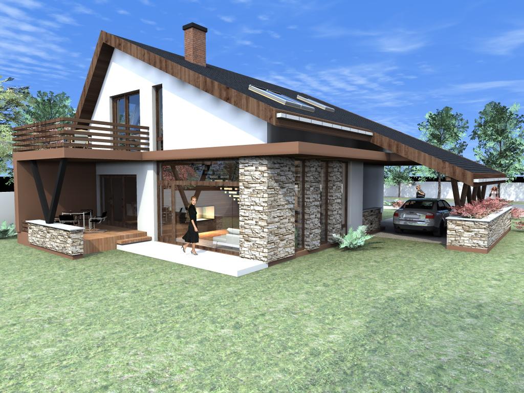 Arhiconstruct proiect casa cu mansarda casa nb 50 for Case parter