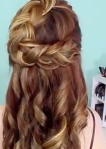 braided curly half up hairdo