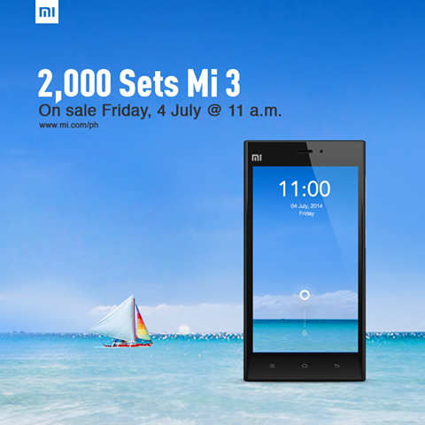 2000 units of Xiaomi Mi 3 on Sale on 4th of July, 11 AM