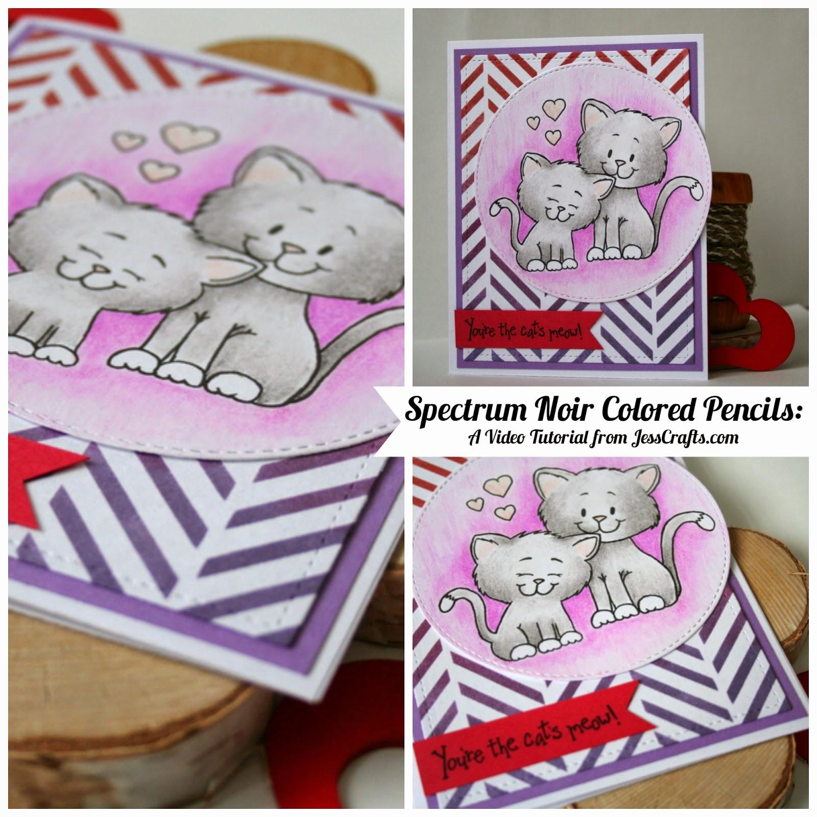 Cat Valentine Card by Jess Moyer with Spectrum Noir Colored Pencils Stencils and Gerda Steiner Digital Stamp
