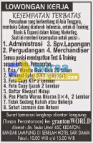 Bursa Kerja di Granton World Lampung, Lowongan Kerja Lampung, Minggu 22 Februari 2015