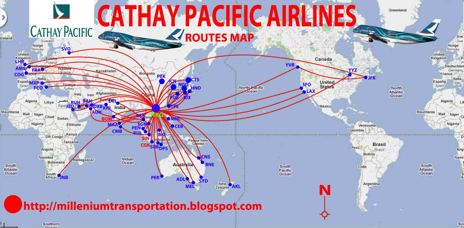 routes map: Cathay Pacific Airways Routes Map