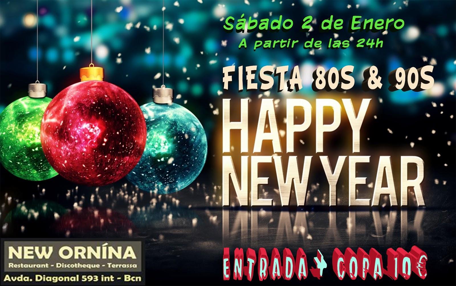 Flyer Fiesta Happy New Year 80 & 90