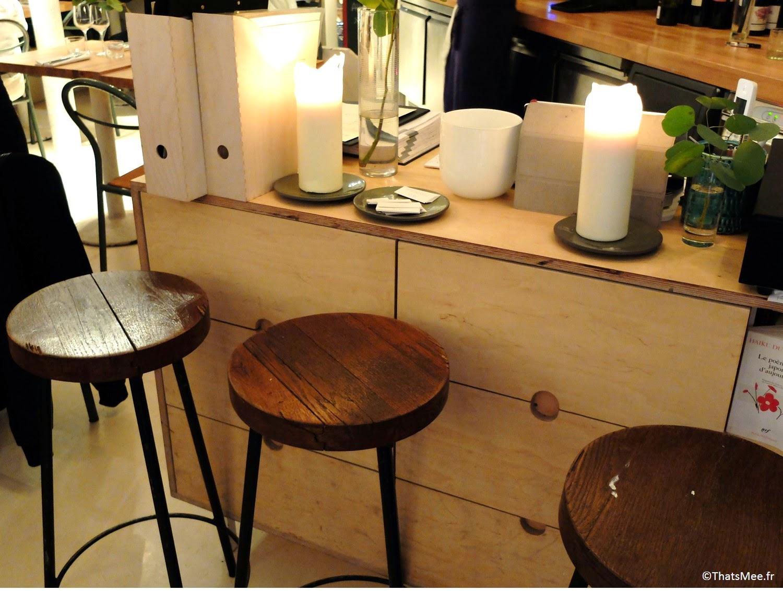 déco bougies Restaurant Hai Kai Paris menu food du marché caviste cave à vins bio, resto Hai Kai quai de Jemmapes Paris 10ème canal Saint-Martin