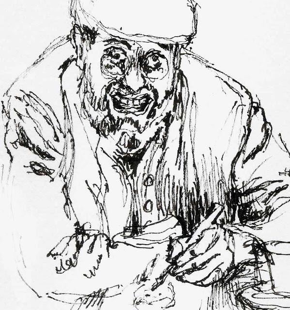 tuschezeichnung, glechner, drawing, autoritratto, artist drawing himself as an artist drawing himself as an artist drawing himself