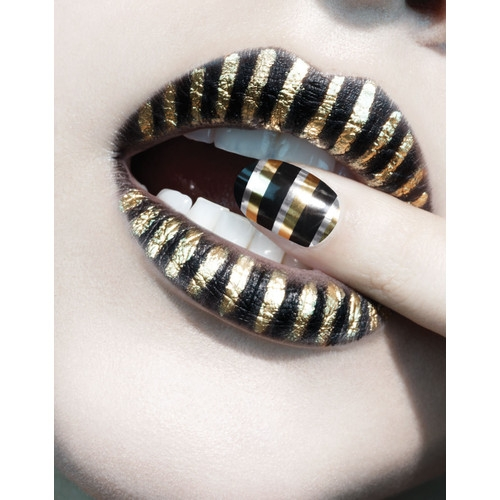 Black and Golden Stripes Lip Art Makeup