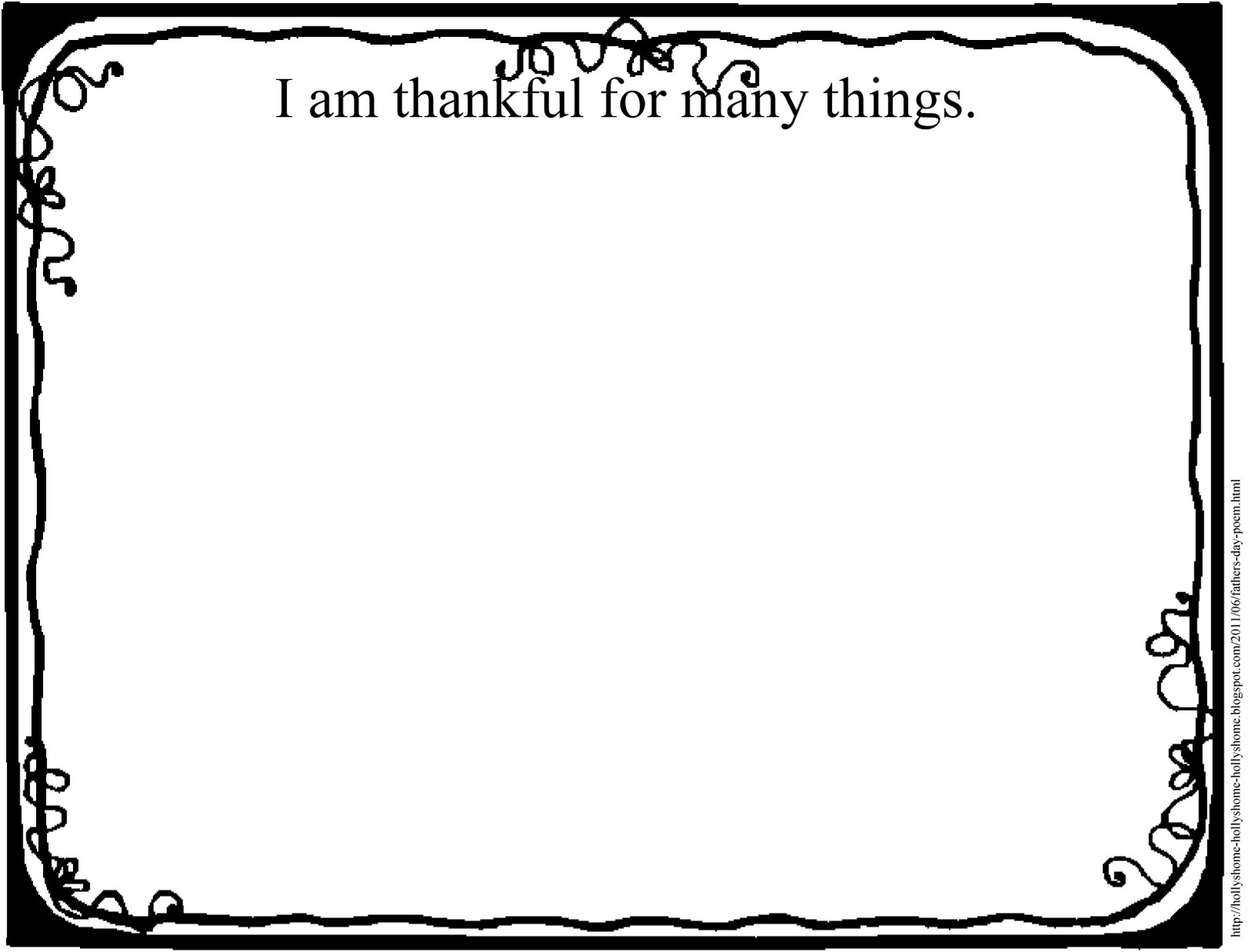 HollysHome Church Fun I Am Thankful For Many Things Handout – I Am Thankful for Worksheets