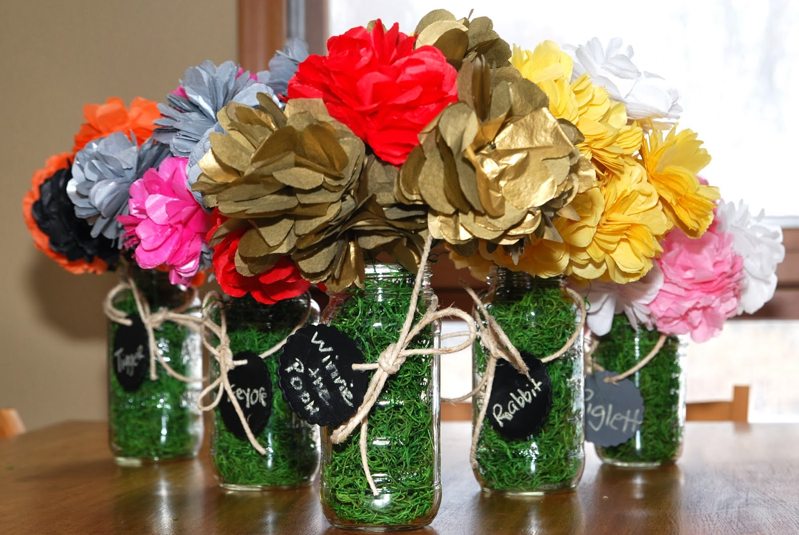 Diy tissue paper bouquets in mason jars vsw tissue paper poms for a flower bouquet centerpieces izmirmasajfo Images
