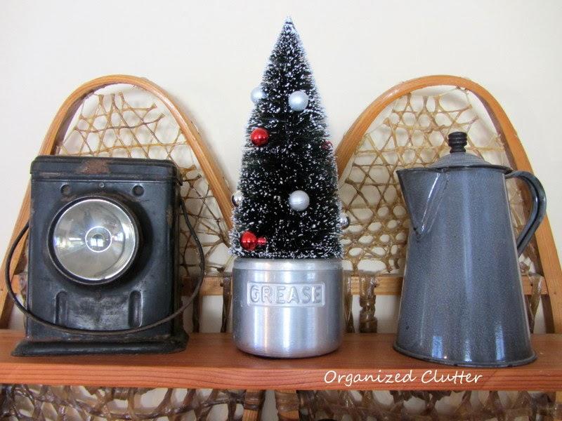 Rustic Christmas Snowshoe Shelf www.organizedclutterqueen.blogspot.com