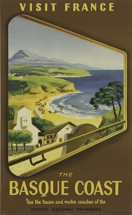 classic posters, free download, graphic design, retro prints, travel, travel posters, vintage, vintage posters, railroad, Visit France, The Basque Coast, French National Railroads - Vintage France Travel Poster