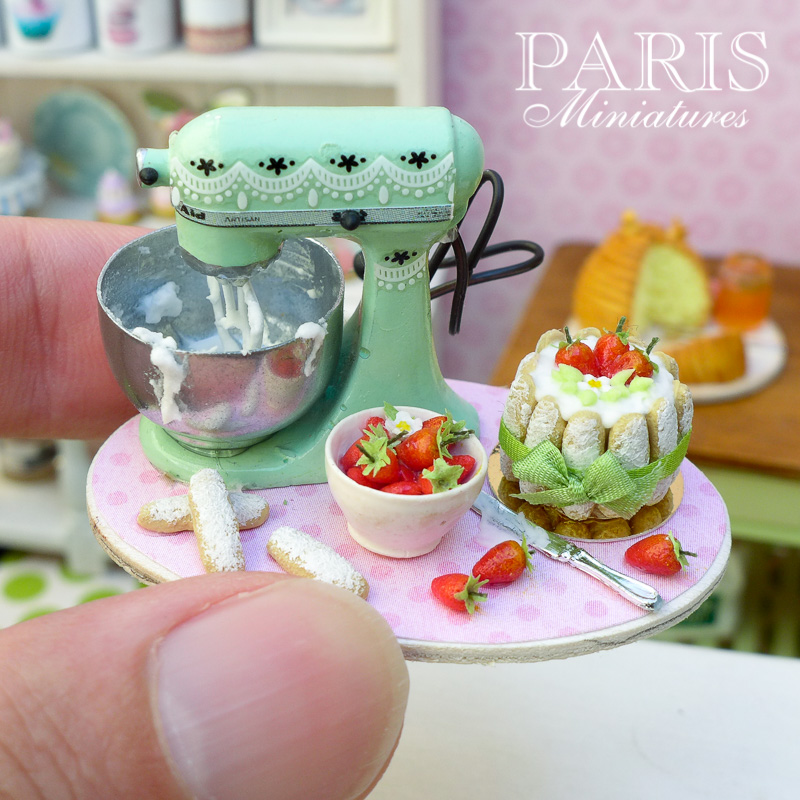 Miniature strawberry charlotte and Kitchen Aid preparation board