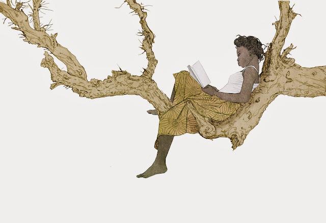 Leyendo sobre un arbol. chica, dibujo