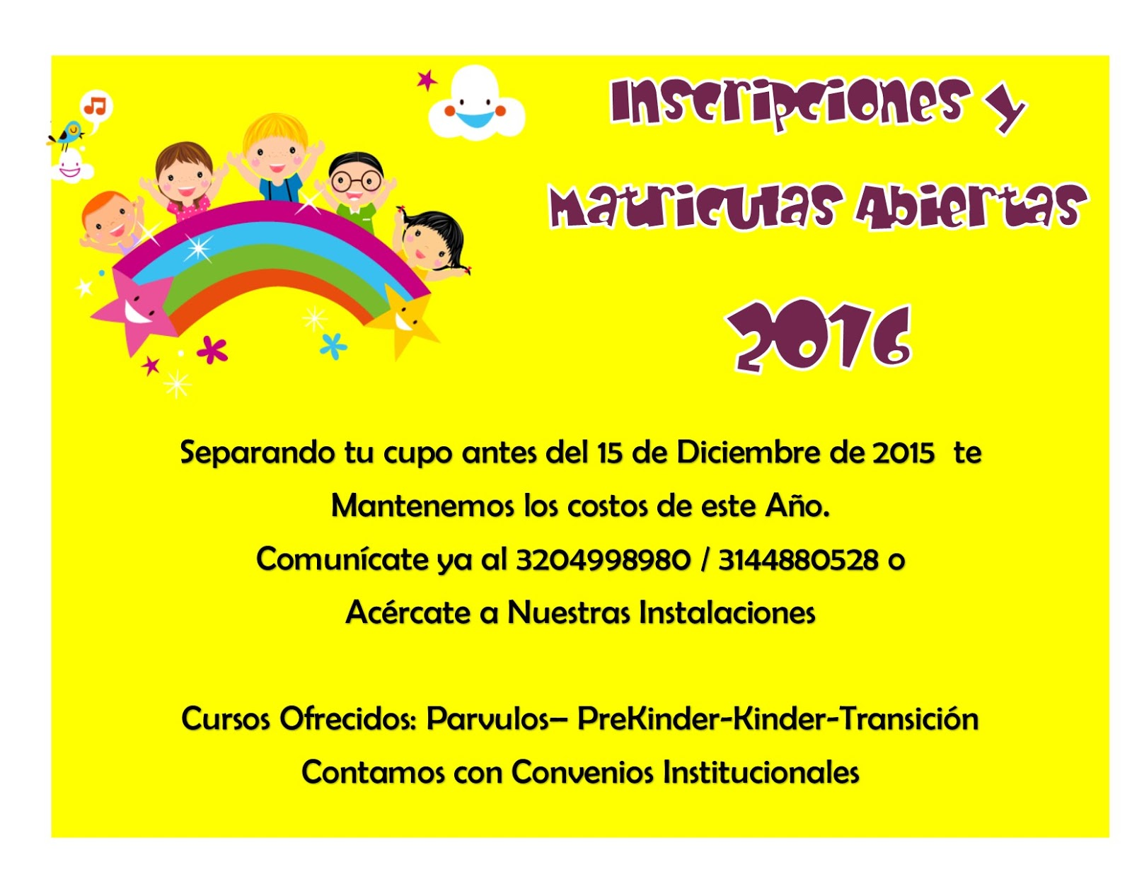 Colegio maravillas infantiles fusagasug for Inscripcion jardin 2015