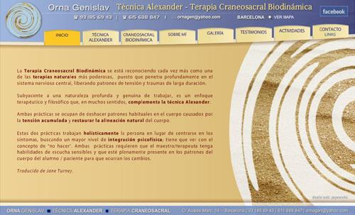 página web de la terapeuta Orna Genislav, experta en Técnica Alexander y Terapia Craneosacral Biodinámica, en Barcelona