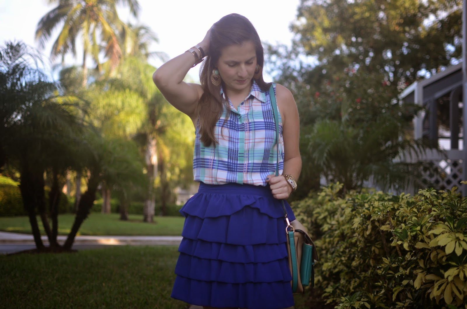ruffle skirt - check top - cross body - flats