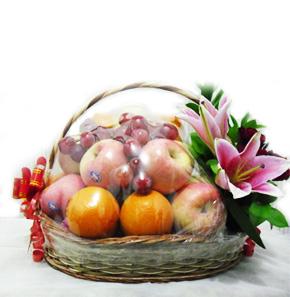 parcel buah dan bunga hari raya