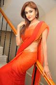 Sony Charista Glamorous in Saffron saree-thumbnail-1