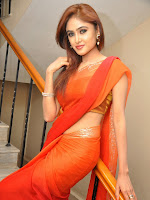 Sony Charista Glamorous in Saffron saree-cover-photo