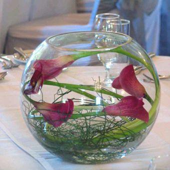 Decoracion con Flores Sumergidas Moradas, Fucsias y Lilas, Centros de Mesa