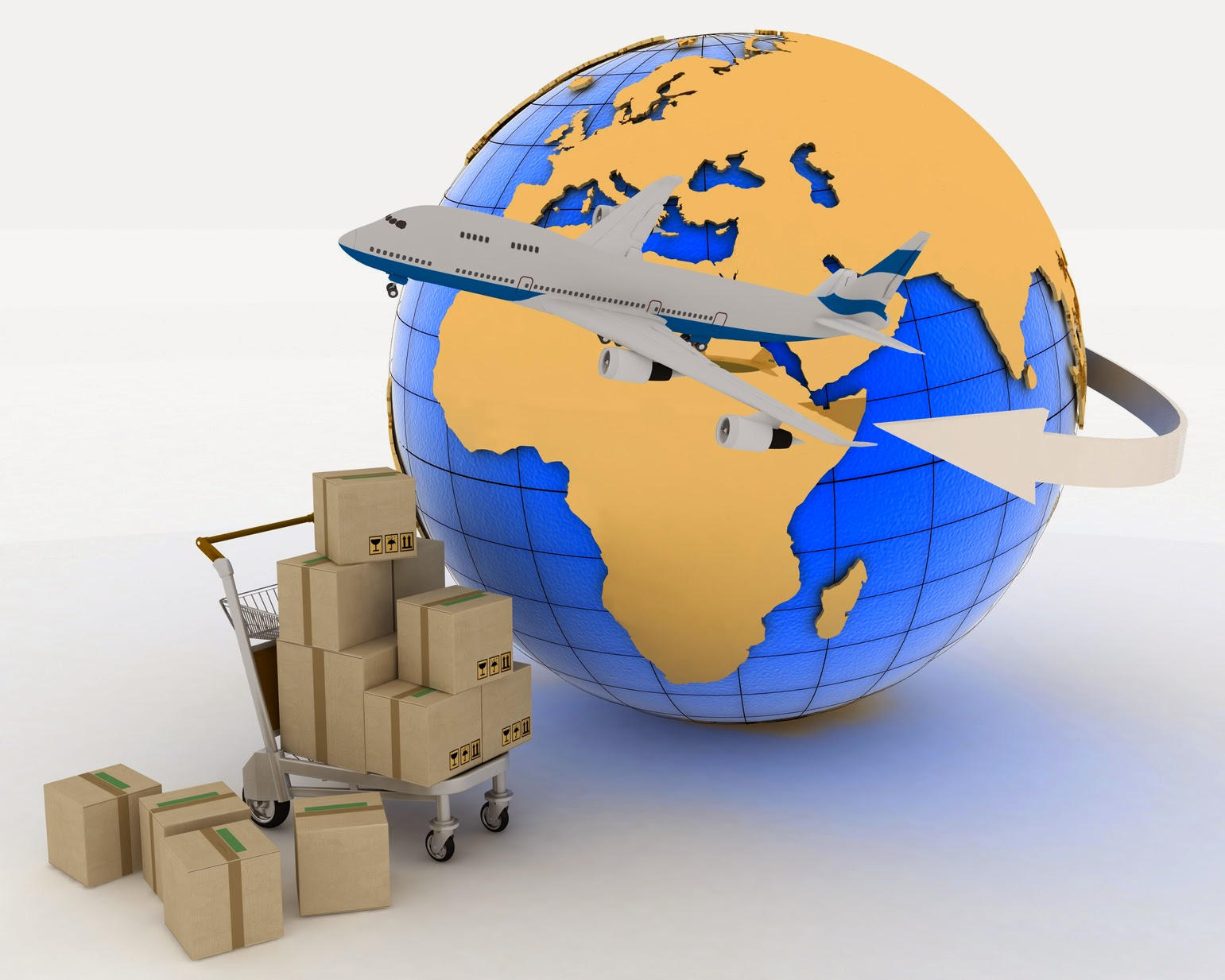 Earth, plane and boxes for export