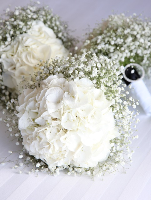 Bouquets With Gypsophila We Were A Bit Cautious But The Result Love Snowy White Hydrangeas Cuff Of And Finished Off On Handle