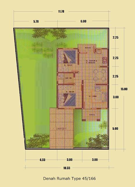 Denah Rumah Minimalis Type 45/166 Halaman Luas