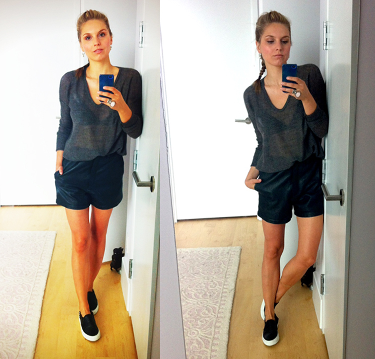 Outfit Helmut Lang Knit Vintage Leather Shorts Sandro Anaconda Sneakers