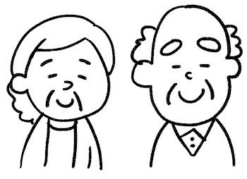 笑うおじいさん・おばあさんのイラスト 白黒線画