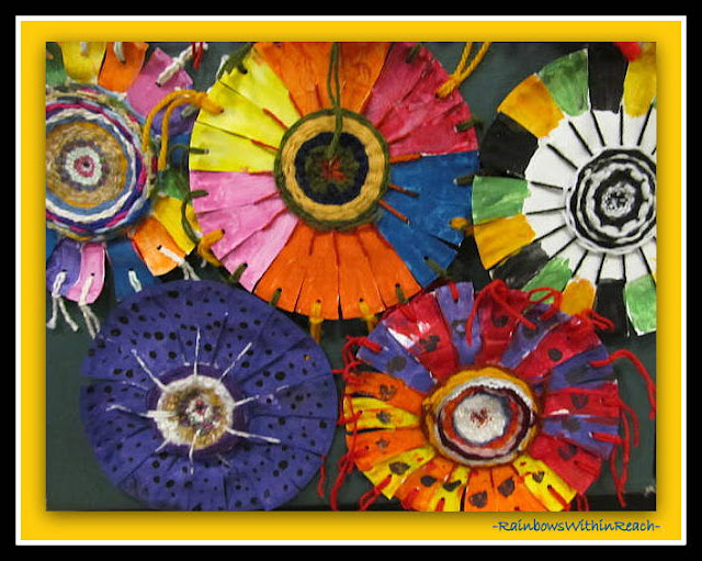 photo off: Concentric Circle Weavings in Elementary School via RainbowsWithinReach