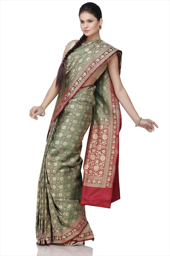 Dark Green Art Kattan Silk Banarasi Saree