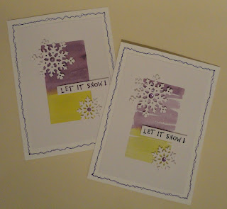 Let it snow Christmas cards with green and purple watercolour background and snowflakes