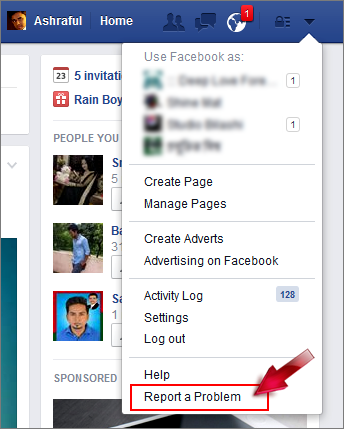 report facebook problem