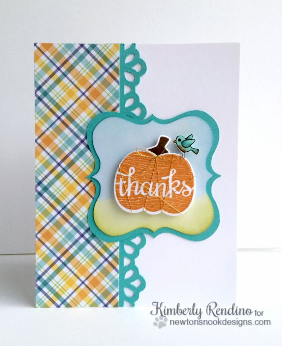 Pumpkin card by Kimberly Rendino | Pick-a-Pumpkin stamp set by Newton's Nook Designs #newtonsnook #pumpkin