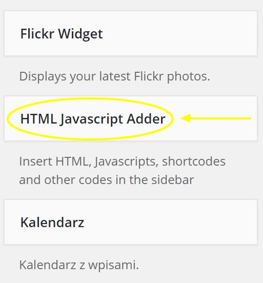 HTML Javascript Adder na wordpressy.pl