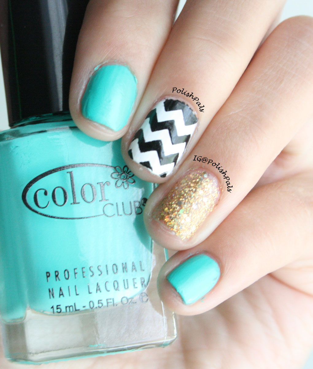 polish pals turquoise gold and chevron nails
