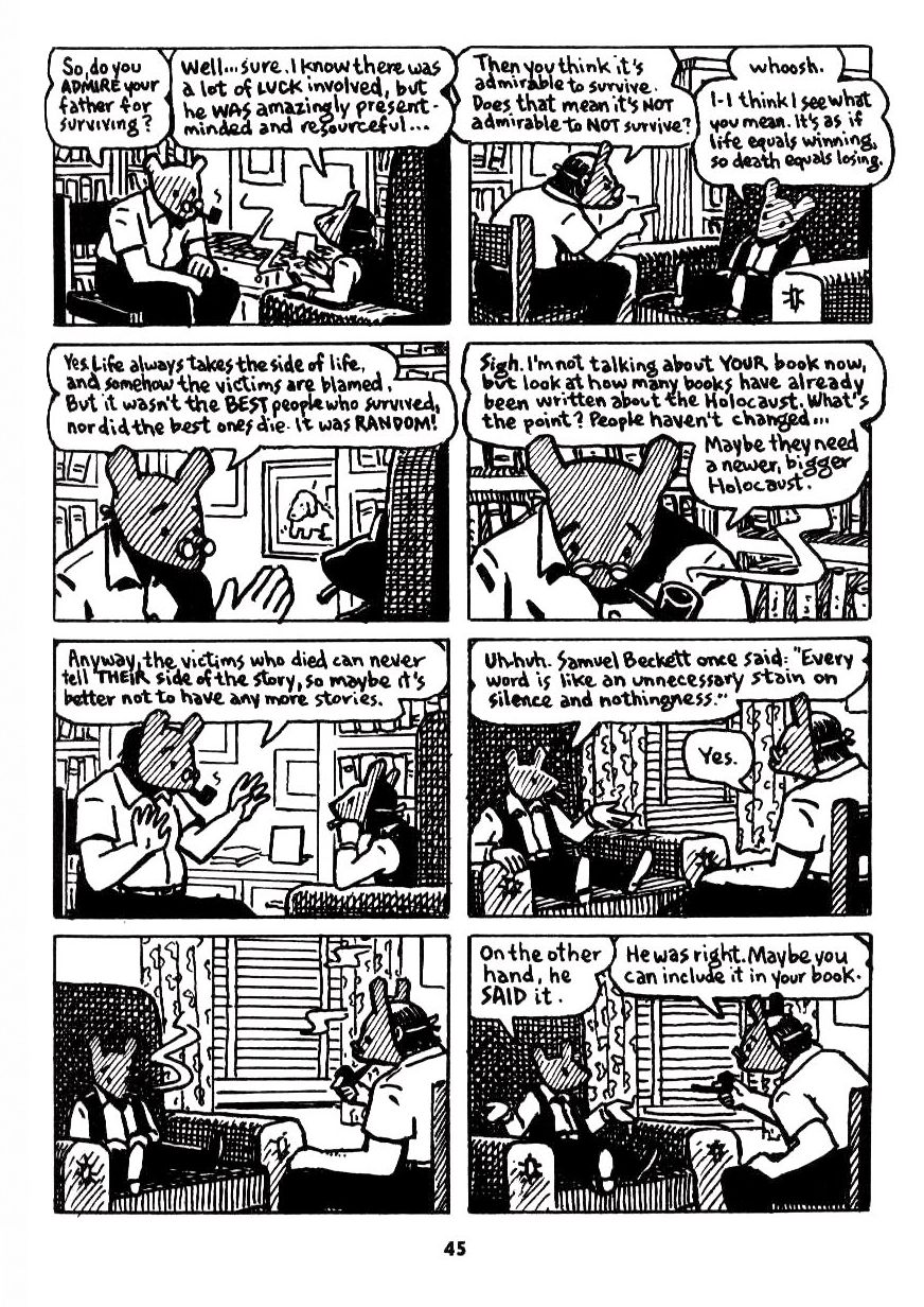 a review of maus a graphic novel by art spiegelman An upcoming retrospective at the vancouver art gallery draws on the works of the man who earned respect for the graphic novel with his the man who made graphic novels mainstream gets vancouver art spiegelman, author of maus, poses for a portrait in his hotel while in vancouver.