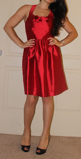 Petite Latina blogger in red dress and Louboutins