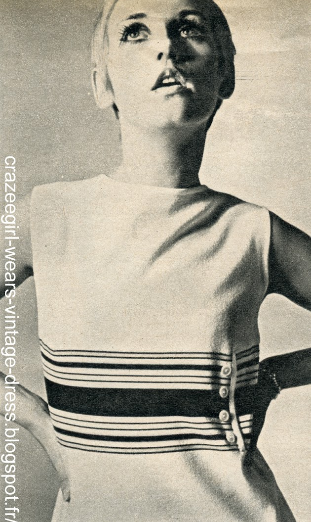 vintage knit sweater dress striped robe pull tricot rayé années 60 60s 1960 twiggy mod triconyl tricosa dam