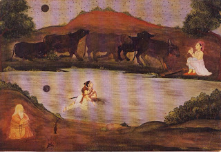 Sohni Swims to Meet Her Lover Mahinwal, Outh, c. 1750