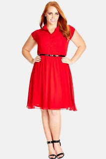 City Chic Pleat Front Belted Shirtdress (Plus Size)