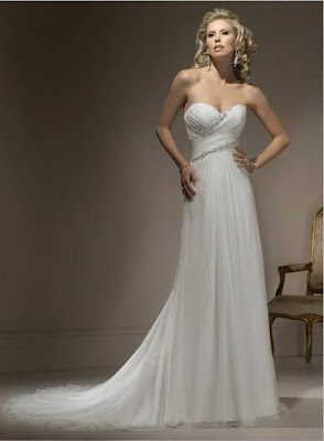 A-Line Sweet-Heart Neckline Beading Chapel Train Chiffon Bridal Gowns
