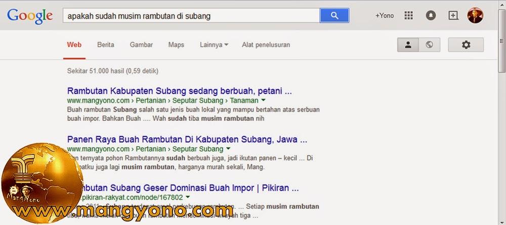 Penampakan di penelusuran Google halaman pertama.