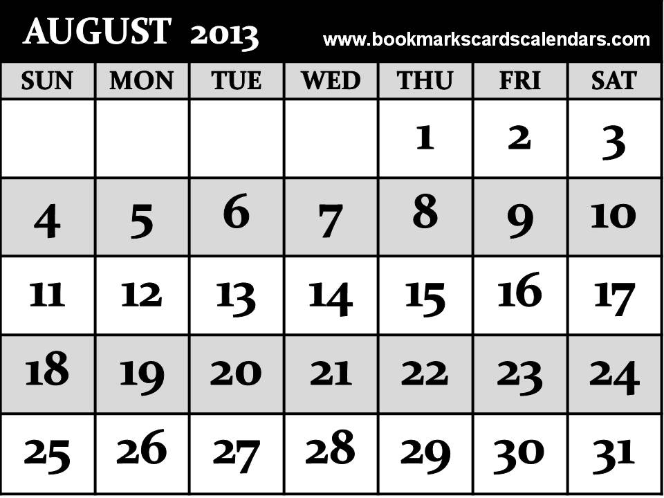 Free Calendars 2015, Bookmarks, Cards: Printable Calendar 2013 August ...