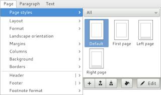 Organización del menú de LibreOffice