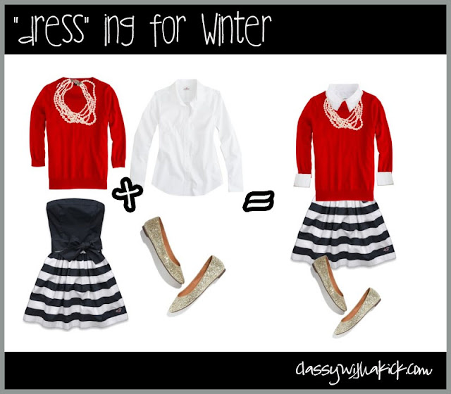 Dressing for Winter - Striped Skirt & Red Sweater
